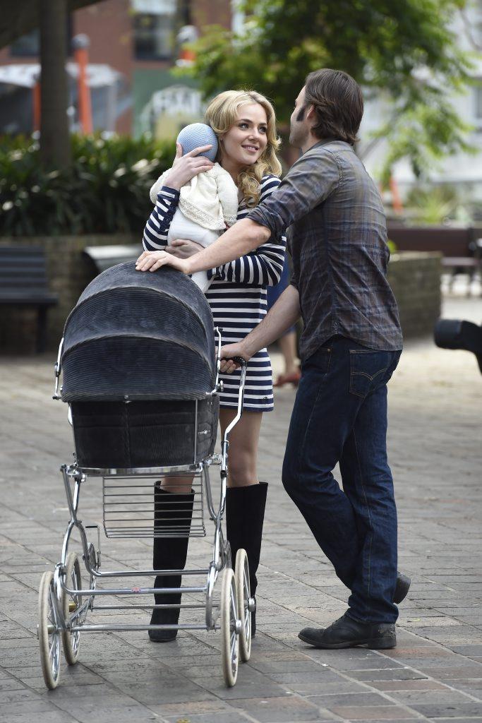 Jessica Marais and Matthew Le Nevez in a scene from Love Child.