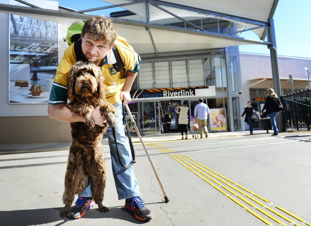 Ex-serviceman Ricky Lawson suffers anxiety and depression and has an assistance dog to help him handle social situations. He is now allowed to take his dog into Riverlink Shopping Centre. Photo: David Nielsen / The Queensland Times