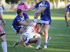 Rebel Dwayne Duke is tackled during the Macksville Sea Eagles Group 2 premier rugby league match at McKittrick Park on Sunday. Photo Debrah Novak / The Daily Examiner