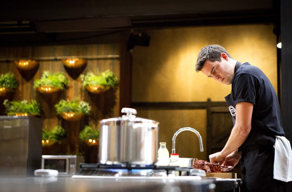 MasterChef Australia contestant Stephen Rooney pictured during last night's pressure test.