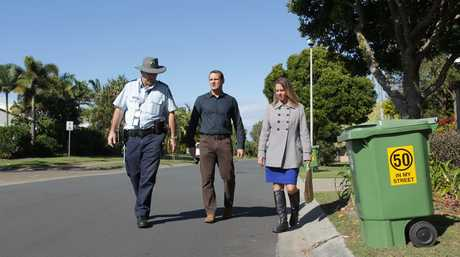 Launching the 50 in my Street campaign in Dune Vista Dr are (from left) Senior Sergeant Steve Roberts, Councillor Peter Cox and Bokarina Neighbourhood Watch committee coordinator Lara Blackbeard.