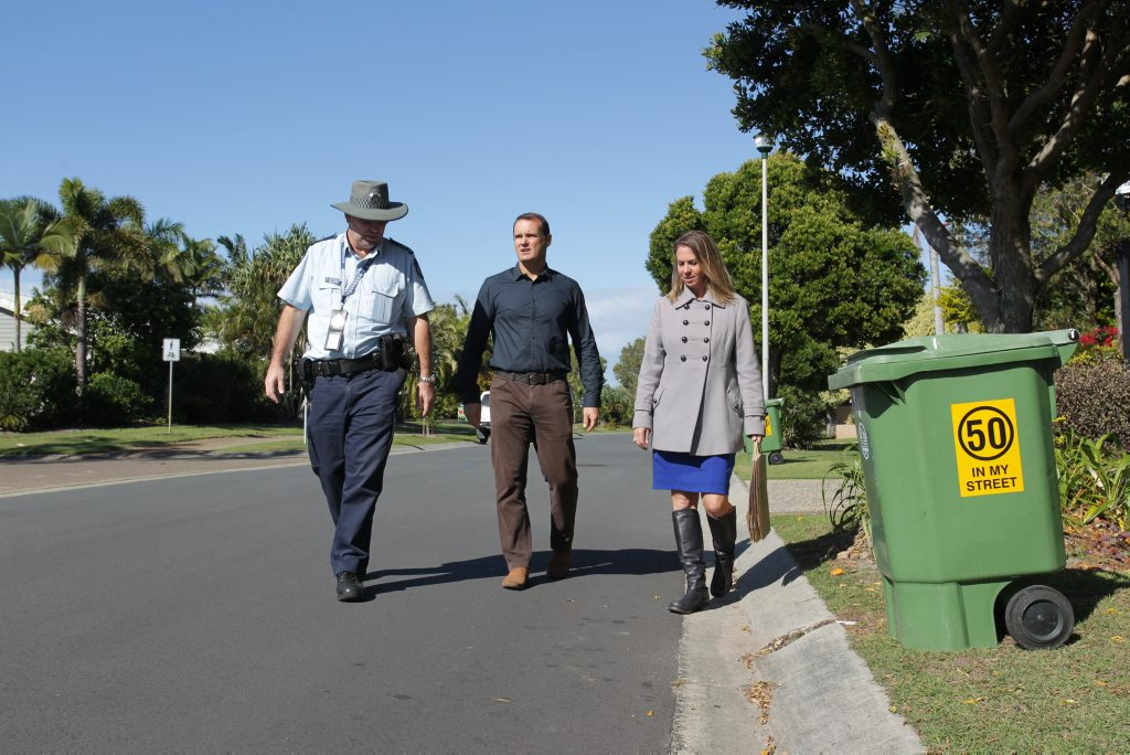 Launching the 50 in my Street campaign in Dune Vista Dr are (from left) Kawana Waters police officer-in-charge Senior Sergeant Steve Roberts, Sunshine Coast Councillor Peter Cox and Bokarina Neighbourhood Watch committee coordinator Lara Blackbeard. Photo Stuart Cumming/ Sunshine Coast Daily