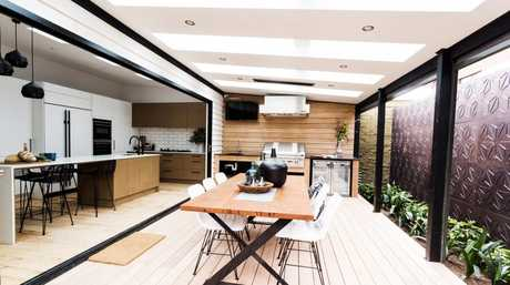 Carly and Leighton's terrace and kitchen in a scene from the grand final of Renovation Rumble.