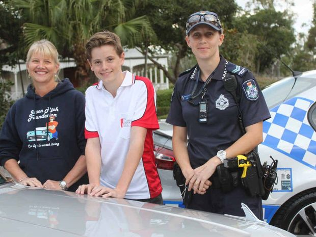 SAFETY FIRST: Tracey Rich from the Jason Rich Foundation, with Ben Barnes and Senior Constable Leicha Edwards, is encouraging defensive driver training for young people.
