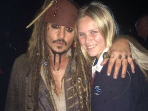 Movie star Johnny Depp greets fans at Hastings Point