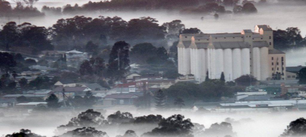 Amanda Jensen? took this shot from Mount Wooroolin towards the iconic peanut silos last Sunday morning. Photo Contributed