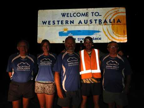 Dave Alley reaches the Western Australia border on his epic Race Around Australia, raising funds for the White Cloud Foundation. Photo Contributed