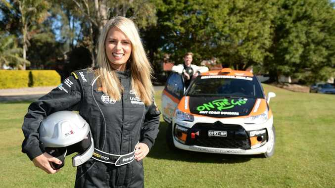 STAR STUDDED: Rally Australia ambassador Courtney Hancock launches the 2015 Coates Hire Rally Australia with driver Adrian Coppin.