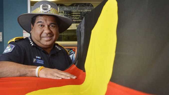 MEANINGFUL DAY: Police liaison officer Michael Bong prepares for the NAIDOC flag-raising ceremony on Monday, July 6.