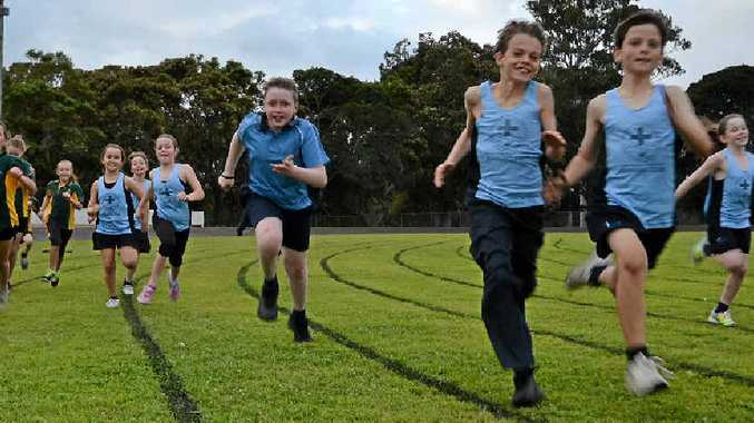 RUN FOR FUN: Students from St Mary's Primary and Leeville Public Schools show they are ready for Casino's second annual fun run.