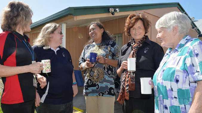 Lynn Bartlett, Miranda McReynolds, Bertha Archer, Lyn Gargano and Sister Margaret Graves at the George Street Neighbourhood Centre Photo Tony Martin / Daily Mercury