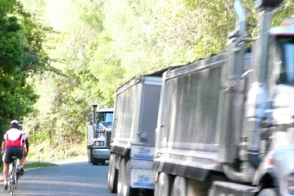 BIG HAUL: This photo was taken of haul trucks on the Kin Kin Range road in 2013.