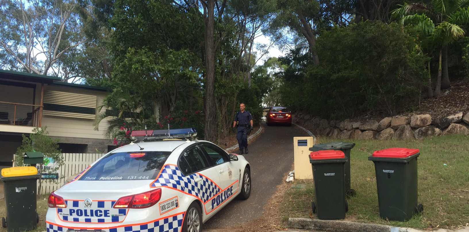 A photo taken at one of the two raids by Queensland Police yesterday.
