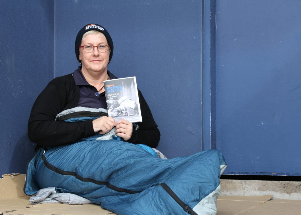 Community members will will sleep rough for a night to raise money for homeless people Narelle Zigenbine rugged up for a cold night and a good cause Photo: Pete Evans / Sunshine Coast Daily