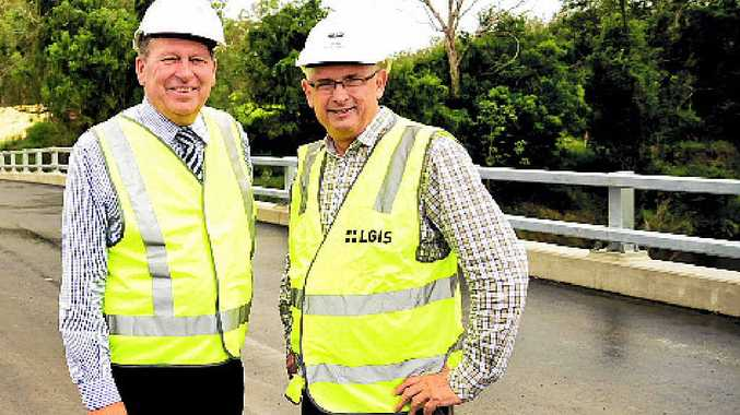 MORE FOR ROADS: Cr Don Petersen and Scenic Rim Mayor John Brent at the opening of the new Edward O'Neill Bridge.
