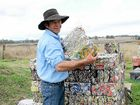 BLOCK STACK: With 900kg of aluminium cans collected, George Brown is a fifth of the way to his goal. Money from profit will go towards cancer and dementia patients.
