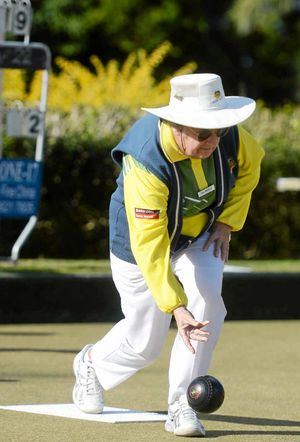 FIESTA TIME: Gail Marczan bowling for Evans Head against South Lismore in the recent Fiesta Fours at the Lismore Heights Bowling Club.