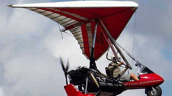 MAN AND MACHINE: Ray Jackson flying his Airborne Arrow Wing microlight plane during the Great Eastern Fly-In at Evans Head this year.