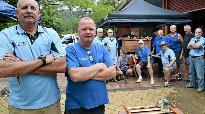 NEW HOME NEEDED: Men's Shed members Steve Halter, Bob Bristow and the crew.