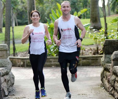 HOPE FOR A CURE: Mark and Cassey Thew are gearing up for the Gold Coast Marathon to raise money and awareness for Multiple Systems Atrophathy. INSET: Mark's father John, who died from the disease in August.