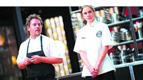 VICTORY: MasterChef contestant Ashleigh Bareham, right, pictured with professional chef Jim McDougall during an immunity pin challenge.