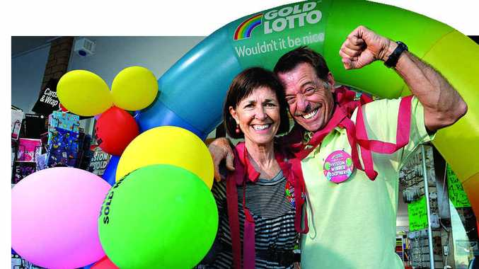 GOOD NEWS: Gavin Yarrow and his wife Sue from Wurtulla Newsagency are glad to finally know the identity of their million dollar Lotto winners.
