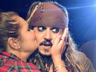 PIRATE PASH: Whitney Aldridge gives Johnny Depp a kiss on the cheek. Contributed.