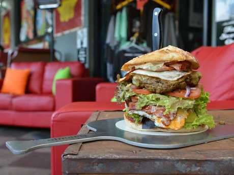 Rick's Garage and Diner at Palmwoods- a 1950's styled eating establishment. 'The Big One' a large famous hamburger. Photo: Warren Lynam / Sunshine Coast Daily