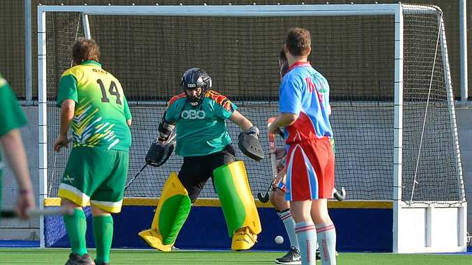 Mens Division A1 Hockey, April 18, 2015 - Sparks keeper Aiden Embrey. Photo Mike Richards / The Observer