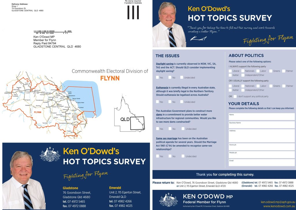 SURVEY SAYS?: Ken O'Dowd says he has mailed this survey out to 60,000 people across Flynn.