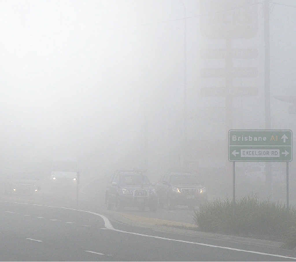 LIGHTS ON: This picture shows the importance of turning on lights while driving in the fog.