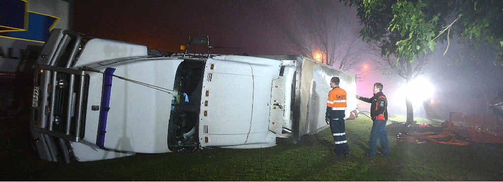 ROLLED: The truck involved in the rollover crash at Alford Park