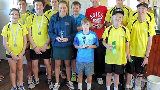 DIVISION 1 winners Goonellabah (in red and blue shirts) and the other finalists Ballina (in yellow).