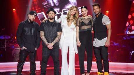 The Voice Australia 2015 coaches, from left, Benji and Joel Madden, Delta Goodrem, Jessie J and Ricky Martin.