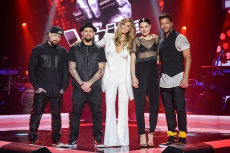 The Voice Australia 2015 coaches, from left, Benji and Joel Madden, Delta Goodrem, Jessie J and Ricky Martin.