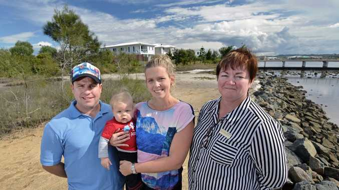 Ben, Amanda and Dane,7, Scrimshaw with Paula Anderson-Stevens are relieved at the fact the interchange is not going ahead at this stage in Brightwater. Photo Patrick Woods / Sunshine Coast Daily