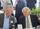 Denis Wagner and former prime minister Bob Hawke share a joke at Wellcamp Airport.