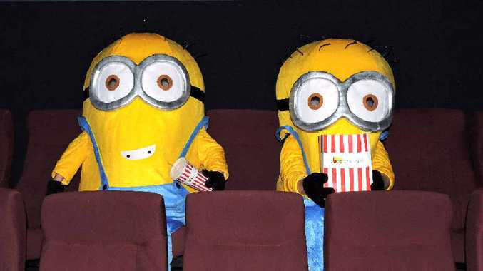 ACTIVITY TIME: Minion Bob (Joeanne Wilson), and Minion Kevin (Kyle Nozza) take a seat at Birch Carroll an Coyle Cinemas at North Mackay as school holidays get under way.