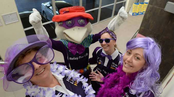PURPLE WEEK: Jill Chegwidden, Sid The Seagull, Fiona Bourne and Angela Childs challenge the locals to paint the town purple to help kick Bundaberg relay For Life off with a bang. Photo: Mike Knott / NewsMail