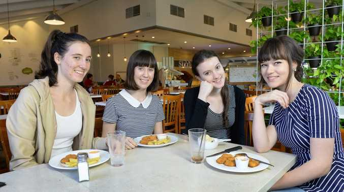 OPEN FOR BUSINESS: Taylor Roberts, Logan Roberts, Libby Munday and Erin Blyth enjoying a meal at Sizzler.
