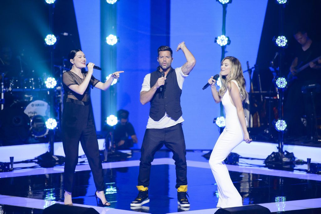 The Voice Australia coaches Jessie J, Ricky Martin and Delta Goodrem perform the song Bang Bang.