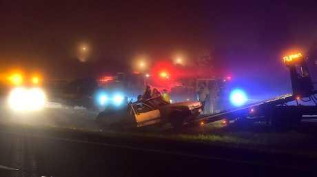 Multi vehicle crash in the South bound lane of the Bruce Highway between Eumundi and Cooroy turnoff. Photo: Warren Lynam / Sunshine Coast Daily