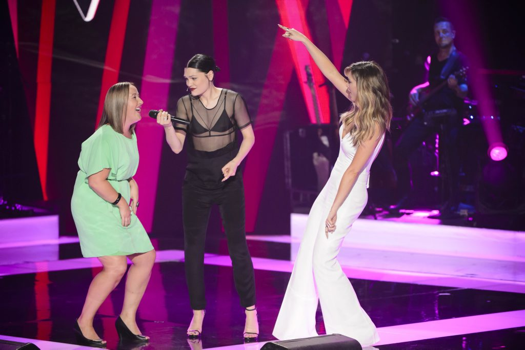 The Voice Australia contestant Cath Adams pictured with coaches Jessie J and Delta Goodrem.