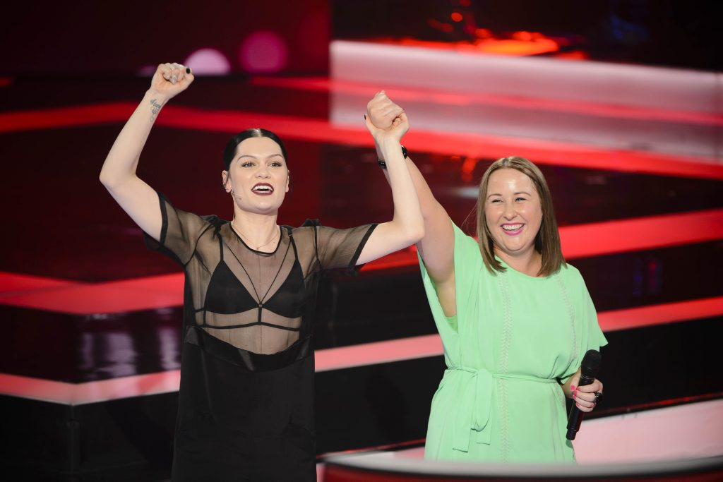 The Voice Australia contestant Cath Adams with coach Jessie J.