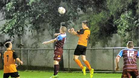 MISSED IT BY THAT MUCH: Adam Cross from Diggers division one jumps for a header last Saturday.