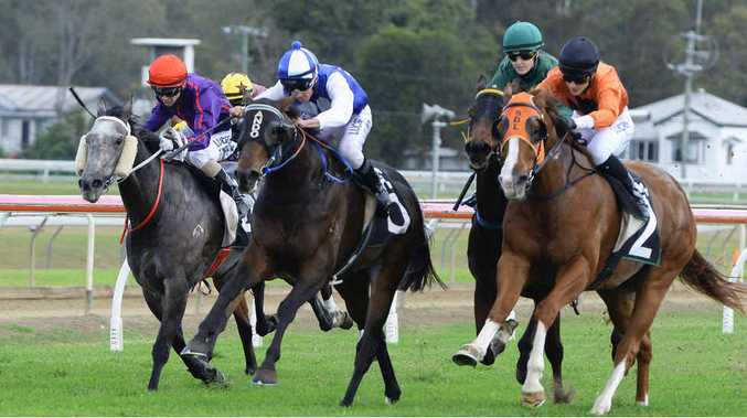 IN THE CLEAR: Moonlight Dancer (blue and white) leads in the straight before winning race three at Bundamba on Friday.