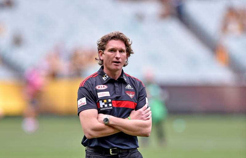 Essendon coach James Hird at the pre-match warm-up session before the round 13 AFL match between the Hawthorn Hawks and Essendon Bombers, at the MCG in Melbourne, Saturday June 27, 2015.