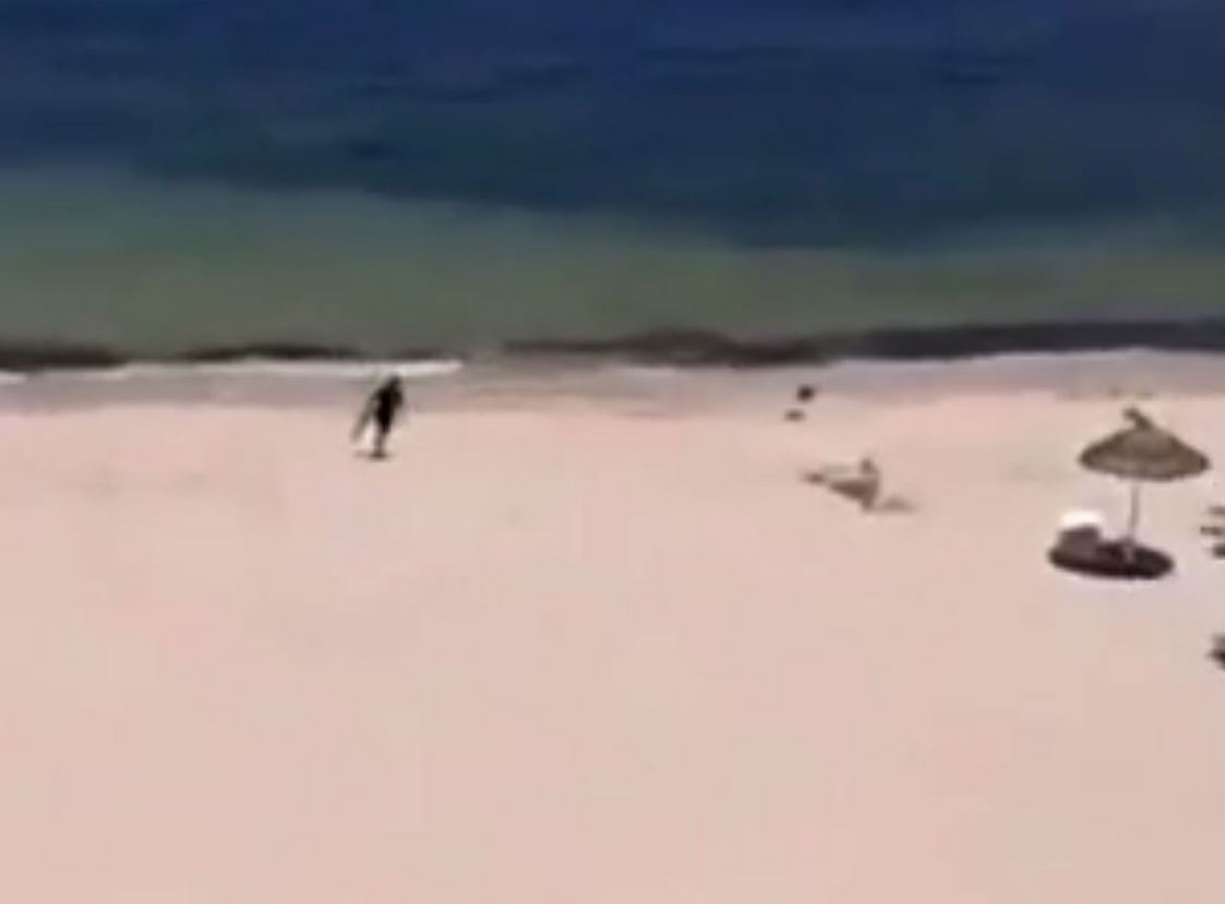 In the video, Rezgui sprints up from the sea armed with a Kalashnikov