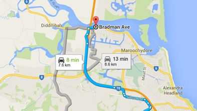 The route of the alleged armed driver, from Pheasant St, Buderim to Bradman Ave, Maroochydore.