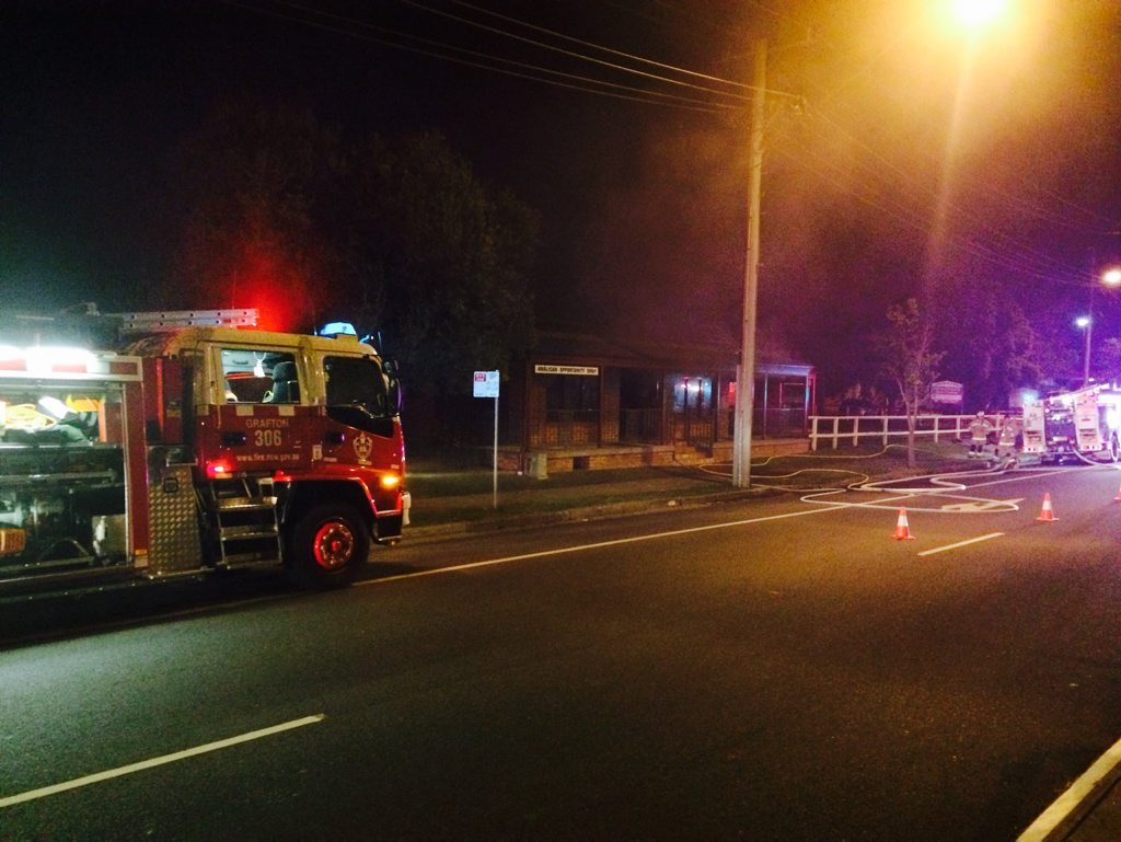 MIDNIGHT SCENE: Grafton Fire Brigade was the scene of the Anglican Op Shop Fire only minutes after the alarm sounded.